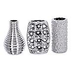 Ridge Road Décor 3-Piece Sculpted Ceramic Vase Set in Silver