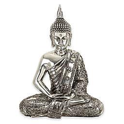 Ridge Road Décor Sitting Buddha Sculpture in Silver
