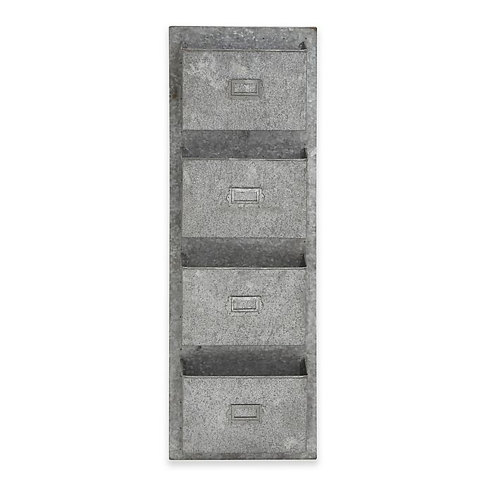 Alternate image 1 for Ridge Road Décor 4-Pocket Iron Wall Organizer in Grey