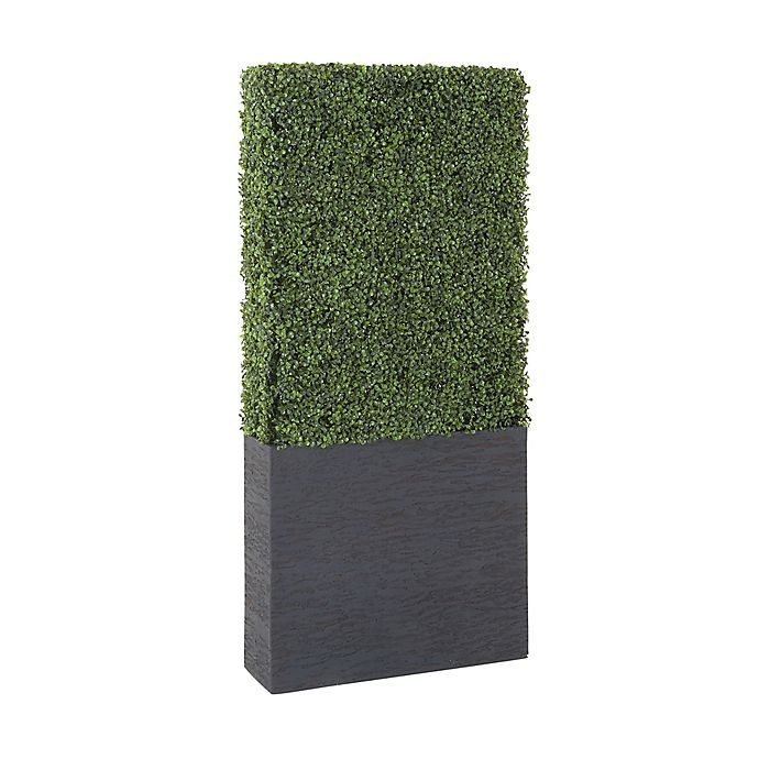 Alternate image 1 for Ridge Road Décor 59-Inch Lifelike Boxwood Hedge in Black Cement Planter