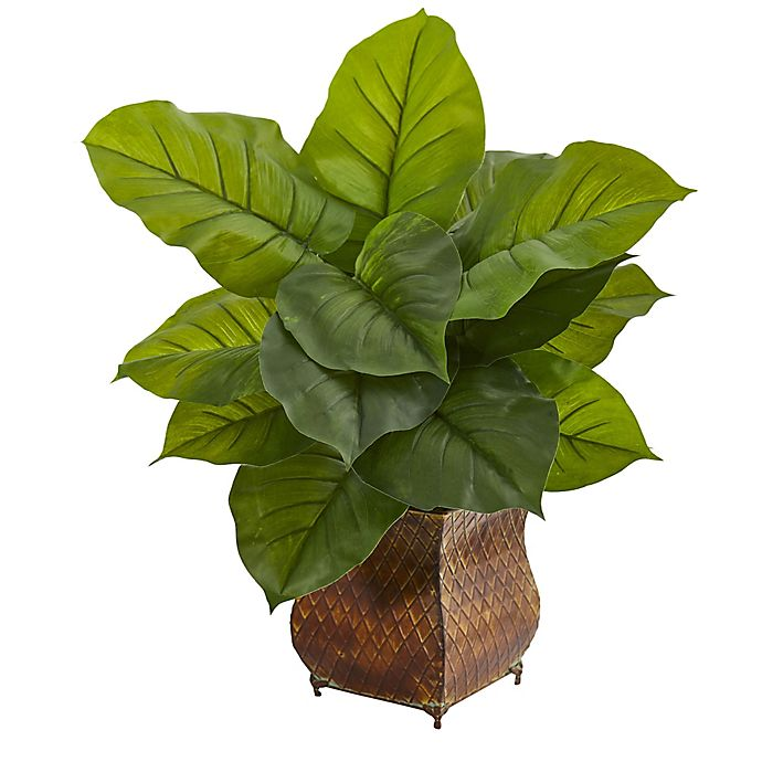 Alternate image 1 for Nearly Natural 27-Inch Real-Touch Large Leaf Philodendron in Brown Metal Planter