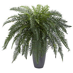Nearly Natural 34-Inch River Fern in Grey Cylinder Planter