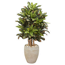 Nearly Natural 3.5-Foot Croton in Sand Textured Oval Planter