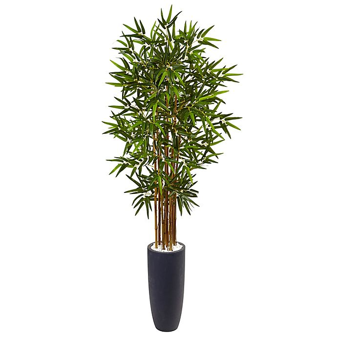Alternate image 1 for Nearly Natural 5-Foot Bamboo Tree in Grey Cylinder Planter