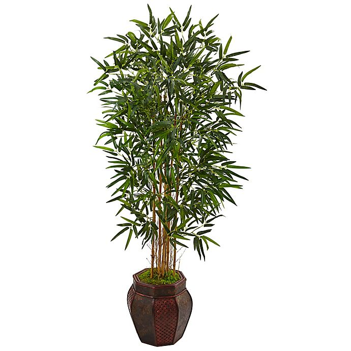 Alternate image 1 for Nearly Natural 5-Foot Bamboo Palm Tree in Wood Chinese Basket Planter