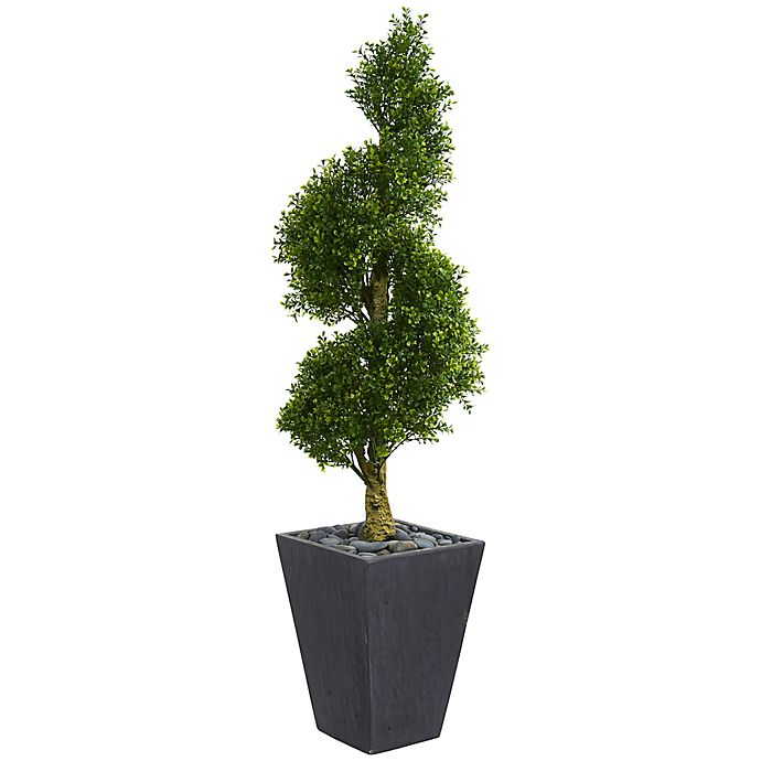 Alternate image 1 for Nearly Natural 5-Foot Boxwood Spiral Topiary Tree in Slate Planter