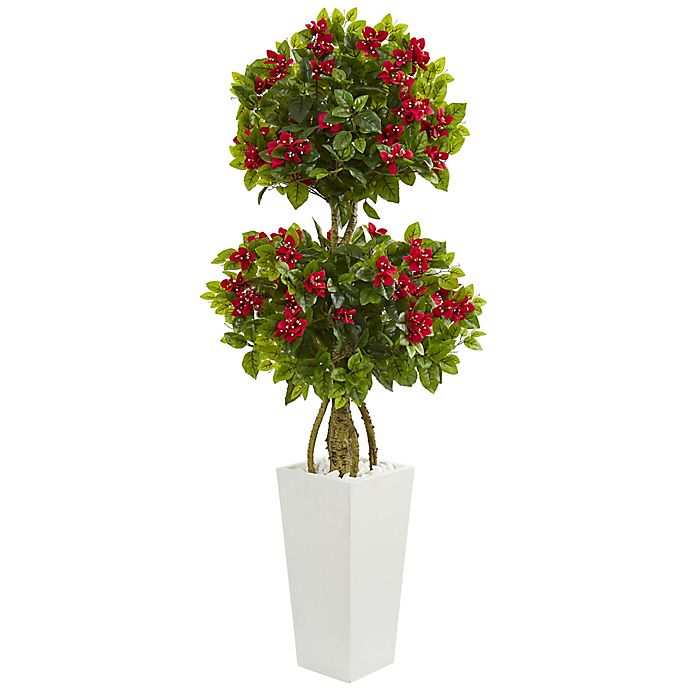 Alternate image 1 for Nearly Natural 5-Foot Bougainvillea Double Ball Tree in White Tower Planter