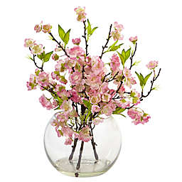 Nearly Natural 14-Inch Cherry Blossom Arrangement in Glass Bowl