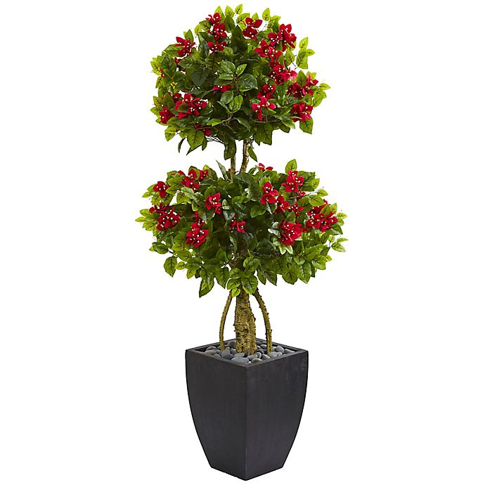 Alternate image 1 for Nearly Natural 5-Foot Bougainvillea Double Ball Tree in Curved Slate Planter
