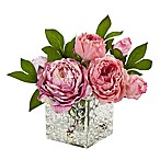 Nearly Natural 10-Inch Peony Arrangement in Hobnail Glass Cube