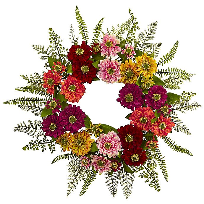 Alternate image 1 for Nearly Natural 20-Inch Mixed Flower Wreath