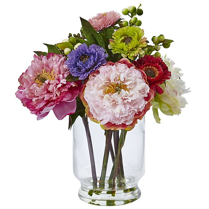 Alternate image 1 for Nearly Natural 12-Inch Peony and Mum Arrangement in Glass Vase