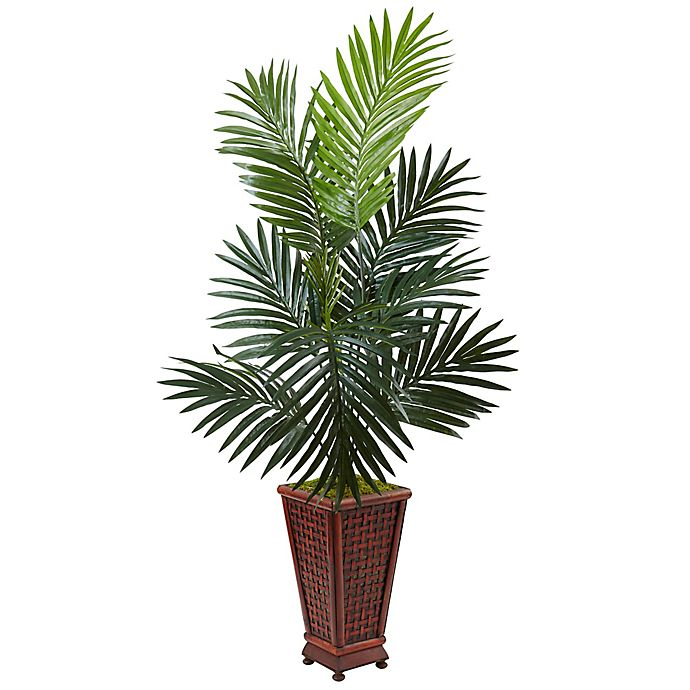 Alternate image 1 for Nearly Natural 4.5-Foot Kentia Palm Tree in Wicker-Textured Wood Planter