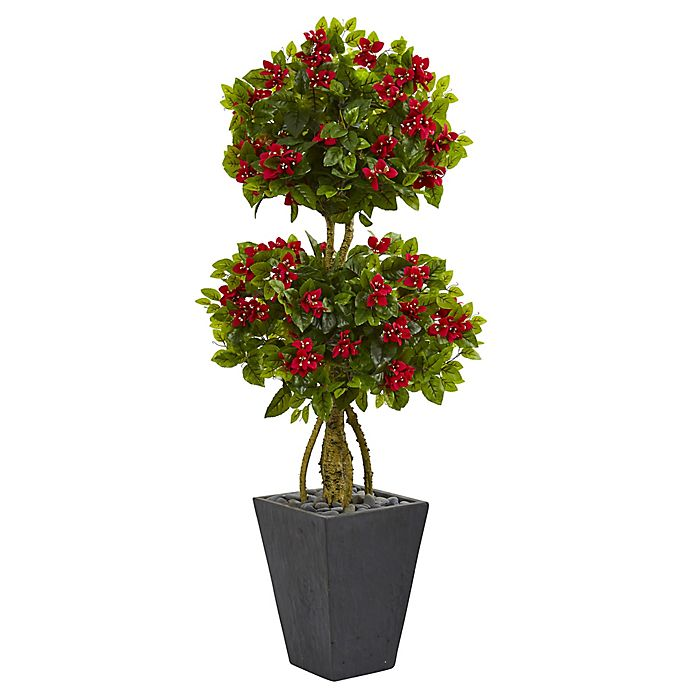 Alternate image 1 for Nearly Natural 5-Foot Bougainvillea Double Ball Tree in Slate Planter
