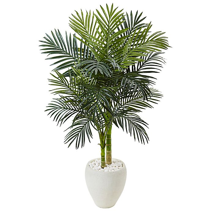 Alternate image 1 for Nearly Natural 4.5-Foot Golden Cane Palm Tree in White Oval Planter
