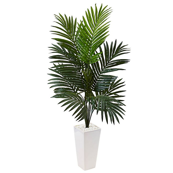 Alternate image 1 for Nearly Natural 4.5-Foot Kentia Palm Tree in White Tower Planter