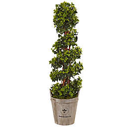 Nearly Natural 4-Foot English Ivy Spiral Topiary Tree in Wood Bucket
