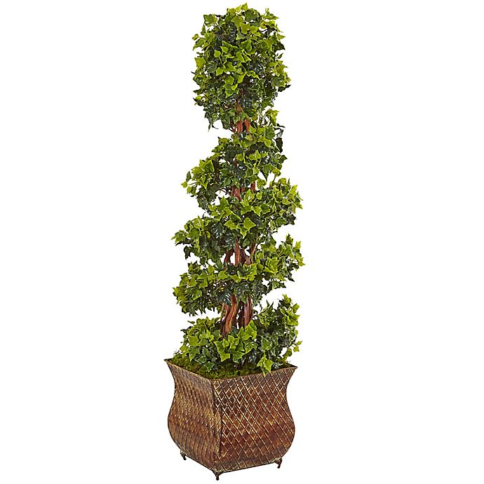 Alternate image 1 for Nearly Natural 4-Foot English Ivy Spiral Tree in Rustic Metal Planter