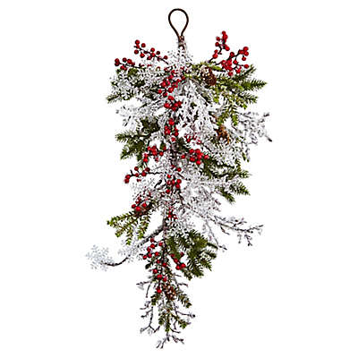 Nearly Natural 26-Inch Berry, Pine and Snowflake Teardrop