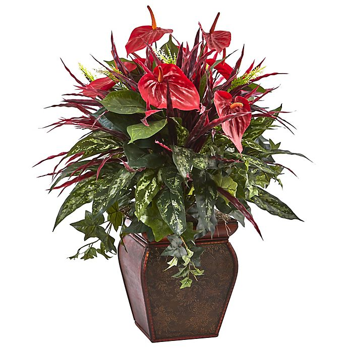 Alternate image 1 for Nearly Natural 28-Inch Anthurium and Mixed Plant Arrangement in Floral Embossed Planter