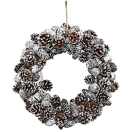 Nearly Natural 17-Inch Snowy Pine Cone Wreath