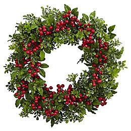 Nearly Natural 24-Inch Berry Boxwood Wreath