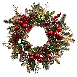 Nearly Natural 24-Inch Ornament, Pine and Pine Cone Wreath