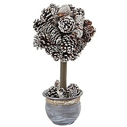 Nearly Natural 14-Inch Snowy Pinecone Topiary in Blue Wash Planter