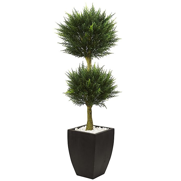 Alternate image 1 for Nearly Natural 4.5-Foot Cypress Double Ball Topiary Tree in Slate Planter