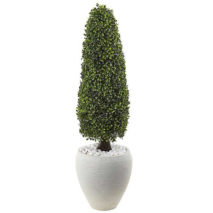 Alternate image 1 for Nearly Natural 41-Inch Boxwood Cone Topiary Tree in White Textured Planter