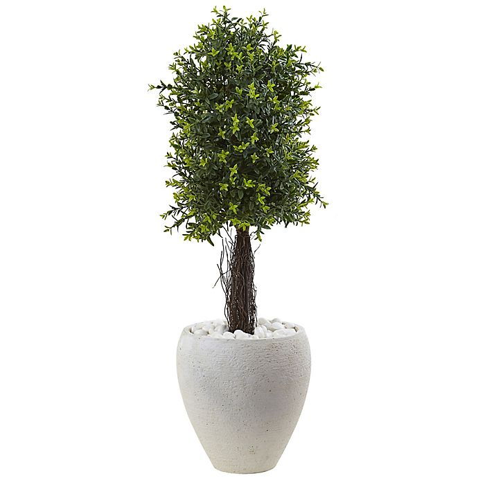 Alternate image 1 for Nearly Natural 40-Inch Ixora Topiary Tree in White Textured Planter