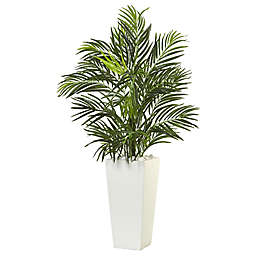 Nearly Natural 39-Inch Areca Palm Tree in White Tower Planter