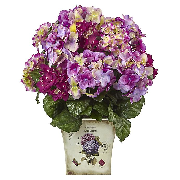 Alternate image 1 for Nearly Natural 19-Inch Mixed Hydrangea in Vintage Floral Planter