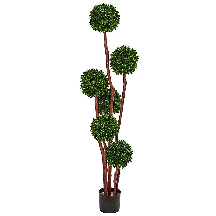 Alternate image 1 for Nearly Natural 5-Foot Boxwood Topiary Tree in Black Nursery Pot