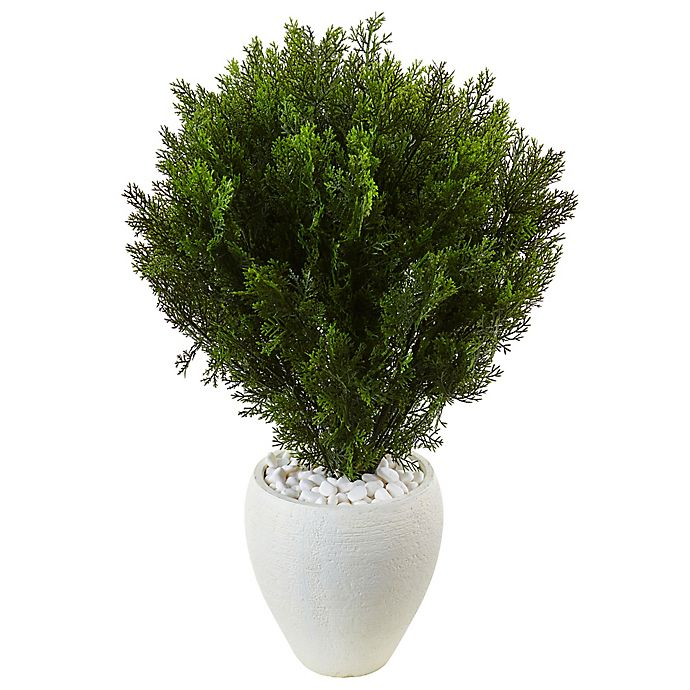 Alternate image 1 for Nearly Natural 3-Foot Cedar Tree in White Textured Planter