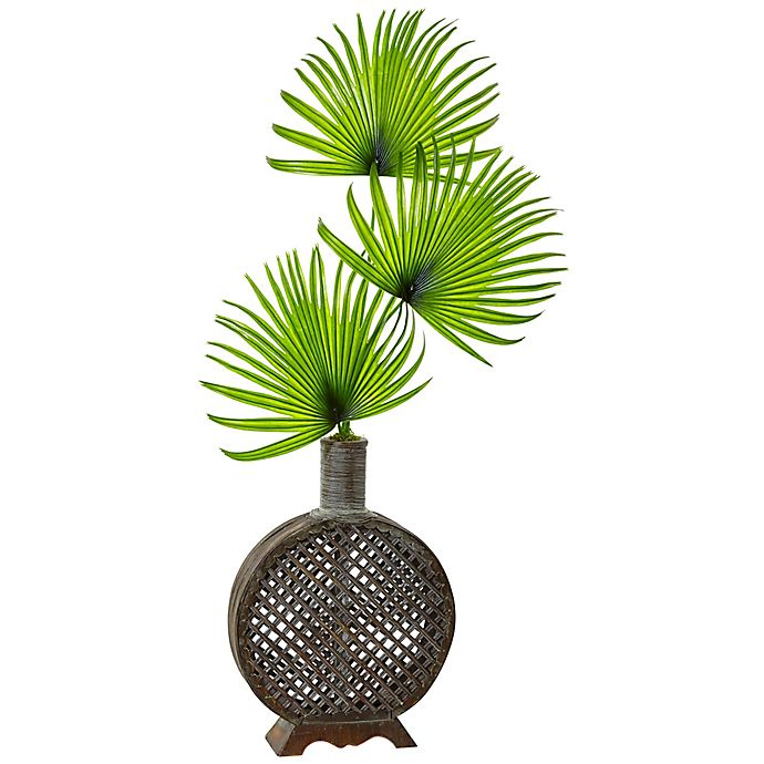 Alternate image 1 for Nearly Natural 41-Inch Fan Palm in Open Weave Vase