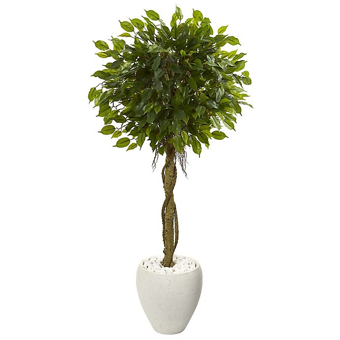 Alternate image 1 for Nearly Natural 4.5-Foot Ficus Artificial Tree in White Oval Planter