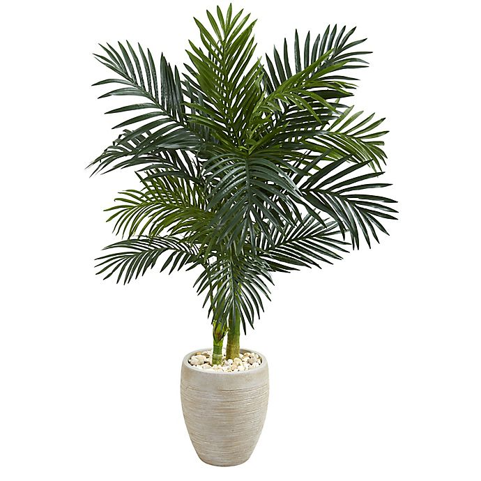Alternate image 1 for Nearly Natural 4.5-Foot Golden Cane Palm Tree in Sand Textured Oval Planter
