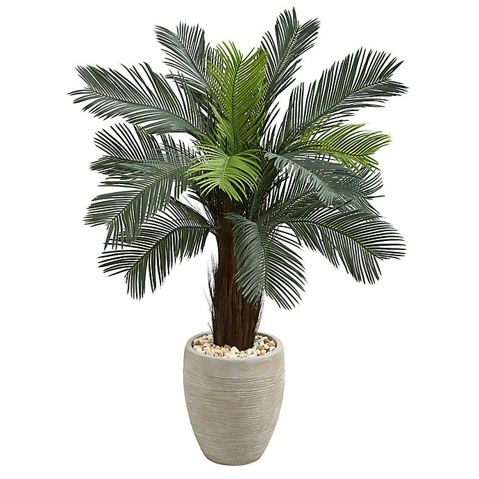 Alternate image 1 for Nearly Natural 4.5-Foot Cycas Tree in Sand Textured Oval Planter