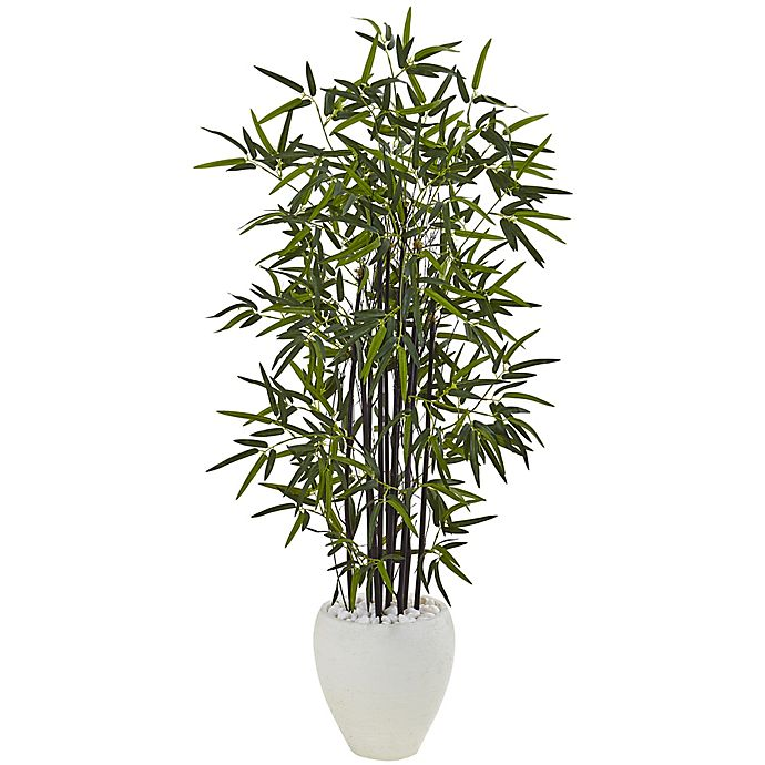 Alternate image 1 for Nearly Natural 5-Foot Bamboo Tree in White Oval Planter