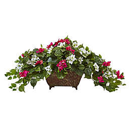 Nearly Natural 17-Inch Bougainvillea in Metal Planter