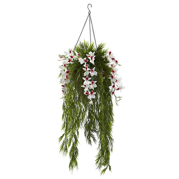 Alternate image 1 for Nearly Natural 40-Inch Dendrobium Orchid and Bamboo Hanging Cone Basket in White