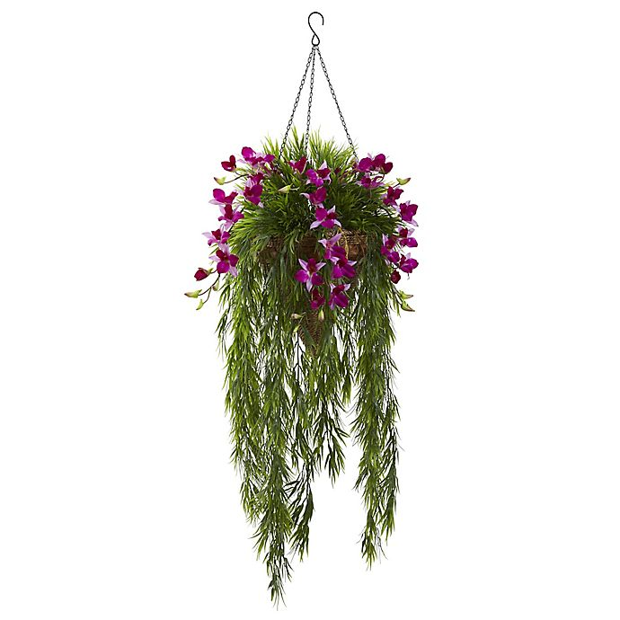 Alternate image 1 for Nearly Natural 40-Inch Dendrobium Orchid and Bamboo Hanging Cone Basket in Purple