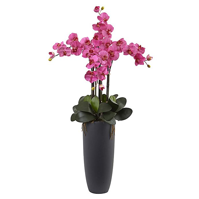 Alternate image 1 for Nearly Natural 41-Inch Pink Phalaenopsis Orchid Arrangement in Grey with Cylinder Planter