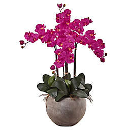 Nearly Natural 36-Inch Phalaenopsis Orchid Arrangement with Sand Colored Bowl