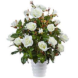 Nearly Natural 21-Inch Rose Bush in White Swirl Pot