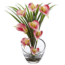 Nearly Natural 15.5-Inch Calla Lily and Grass Arrangement in Glass Cutaway Bowl