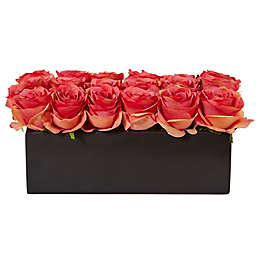 Nearly Natural 6-Inch Rose Arrangement in Black Rectangular Planter