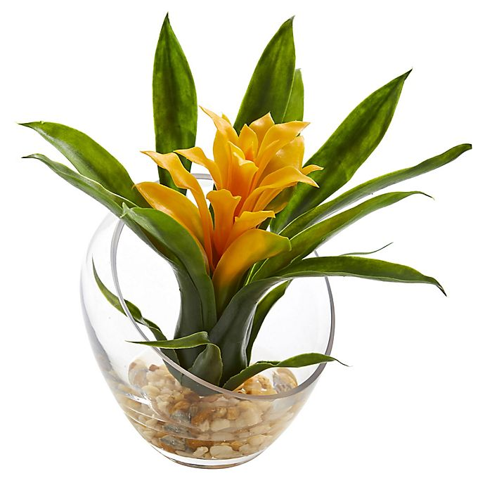 Alternate image 1 for Nearly Natural 8-Inch Yellow Bromeliad Arrangement in Glass Cutaway Bowl