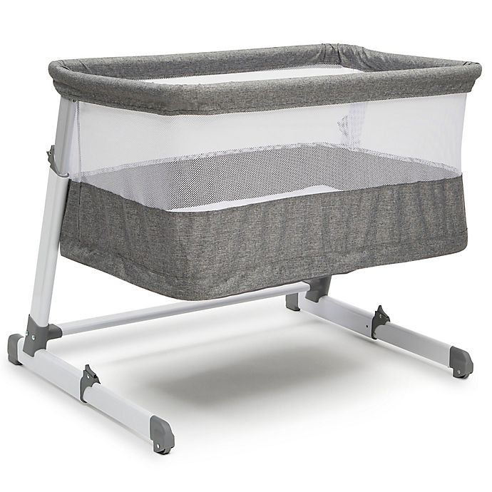 Alternate image 1 for Beautyrest Room2Grow Bedside Newborn Bassinet to Infant Sleeper in Grey by Delta Children
